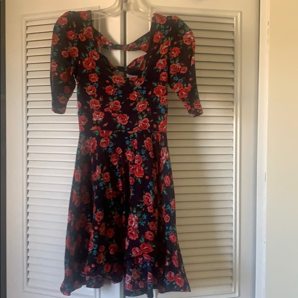 Vintage floral babydoll sweater dress small